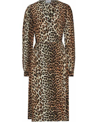Платье миди с запахом леопардовое Ganni