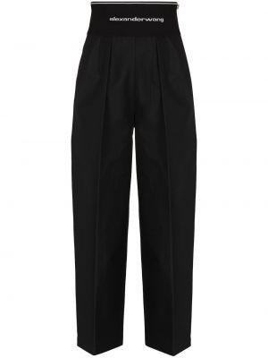 Czarne spodnie bawełniane z printem Alexander Wang