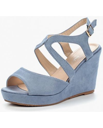 Голубые босоножки на каблуке Super Mode