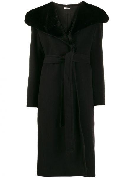 С рукавами черное шерстяное пальто с карманами Lardini