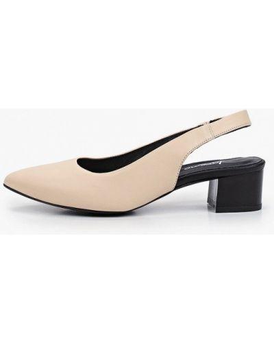 Кожаные бежевые туфли с открытой пяткой Laremo