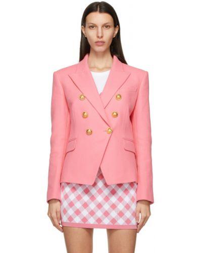 Розовый удлиненный пиджак двубортный с карманами Balmain