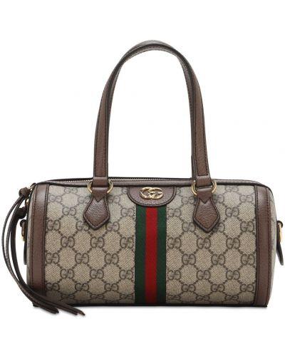 Кожаная коричневая сумка с ручками на молнии Gucci