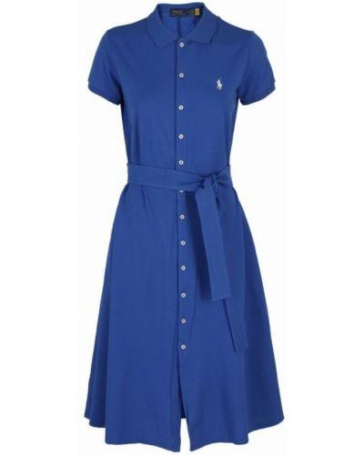 Niebieska sukienka z haftem Polo Ralph Lauren