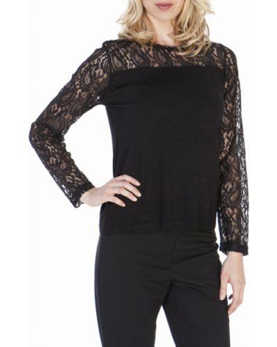 Блузка с длинным рукавом гипюровая черная Lacywear