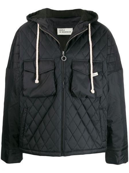 Czarna kurtka pikowana z nylonu Drole De Monsieur