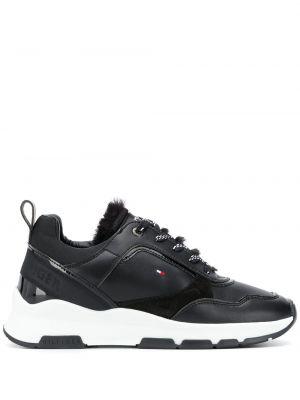 Черные кроссовки с мехом на шнуровке Tommy Hilfiger