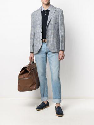 Синий удлиненный пиджак в клетку с карманами Brunello Cucinelli