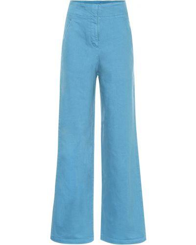 Niebieski bezpłatne cięcie bawełna bawełna szeroki jeansy Tibi