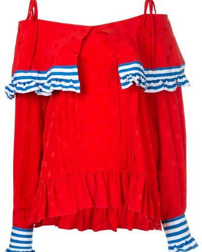 Блузка с открытыми плечами с баской с манжетами Msgm