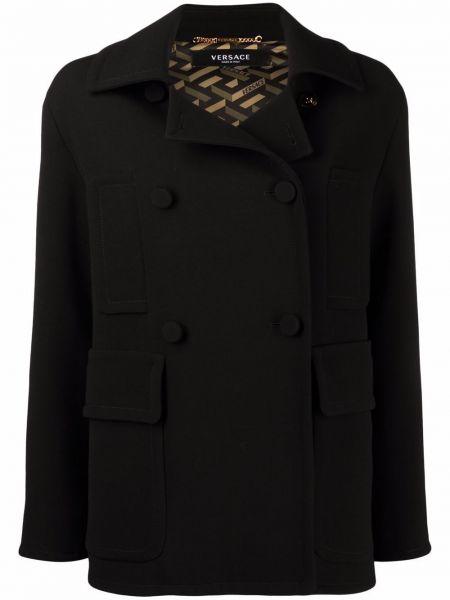 Черное шерстяное пальто Versace