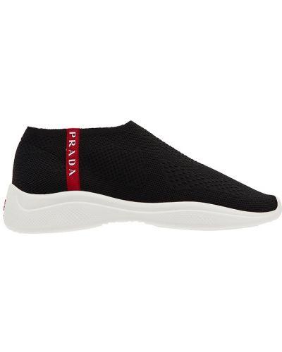 Кроссовки с логотипом текстильные Prada