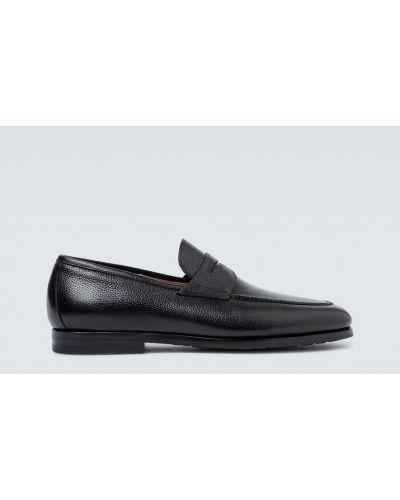 Czarny klasyczny loafers z prawdziwej skóry Santoni