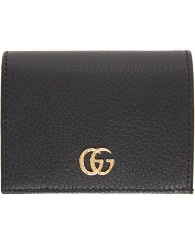 Skórzany portfel na monety prążkowany z gniazdem z łatami Gucci
