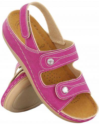 Różowe sandały skorzane na rzepy Inblu