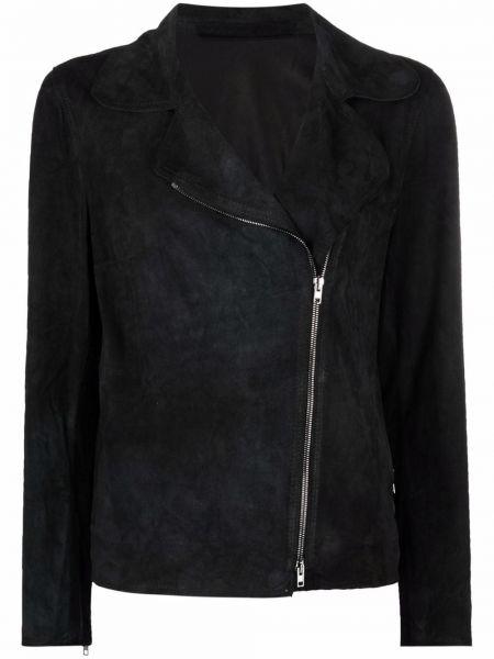 Черная кожаная куртка с воротником с длинными рукавами Salvatore Santoro