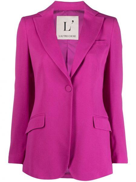 Фиолетовый однобортный удлиненный пиджак с карманами L'autre Chose