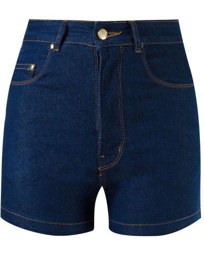 Однобортные джинсовые шорты с карманами со стразами Amapô