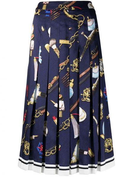 Юбка миди с принтом - синяя Boutique Moschino