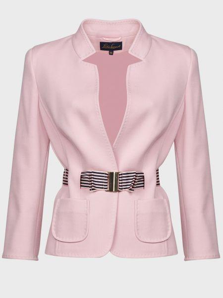 Шерстяной розовый пиджак с поясом Luisa Spagnoli