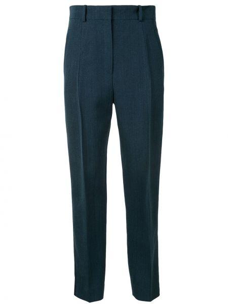 Синие брюки с карманами из вискозы с потайной застежкой Petar Petrov