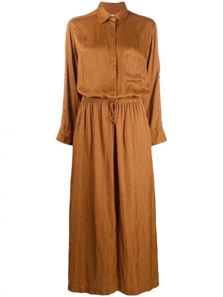 Коричневое классическое платье миди на пуговицах с воротником Zadig&voltaire