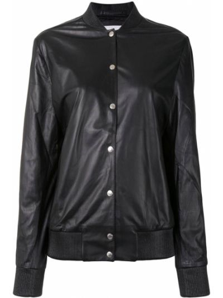 Черная кожаная длинная куртка с вышивкой Kenzo