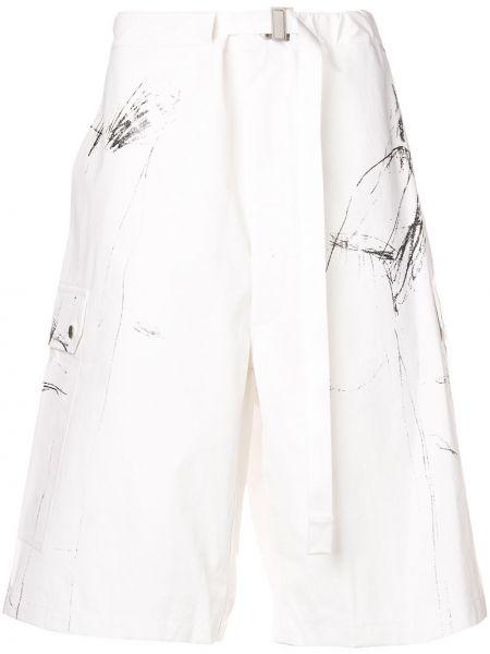 Białe krótkie szorty z paskiem bawełniane Sankuanz