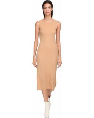 Трикотажное платье миди - бежевое Jil Sander