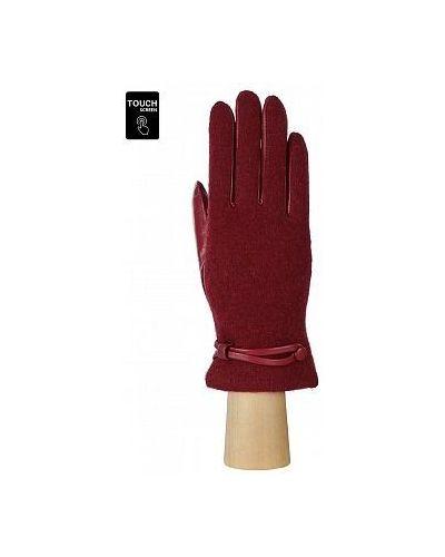 С ремешком красные кожаные перчатки Fabretti