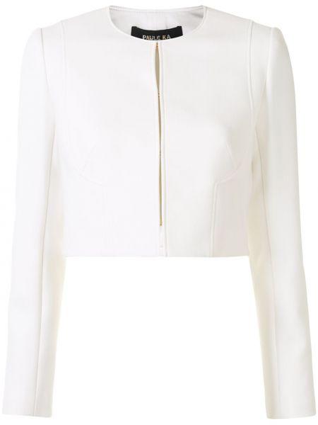 Шерстяная белая длинная куртка для полных Paule Ka