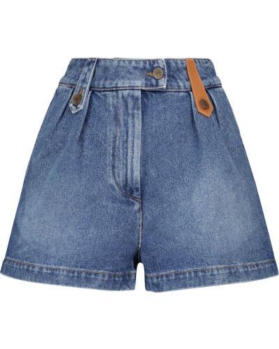 Синие кашемировые джинсовые шорты на шпильке Loewe