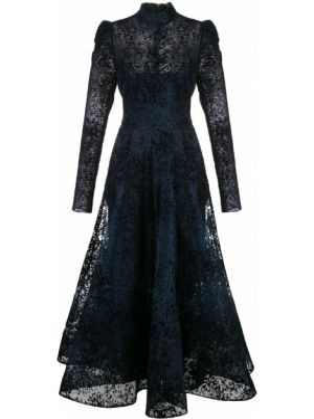 Шелковое платье миди - синее Christian Siriano