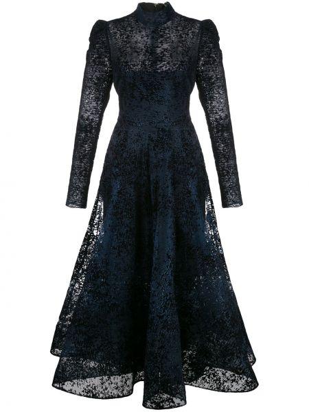 С рукавами синее шелковое ажурное платье миди Christian Siriano