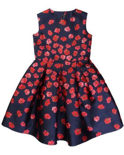 Платье мини на пуговицах с цветочным принтом Oscar De La Renta