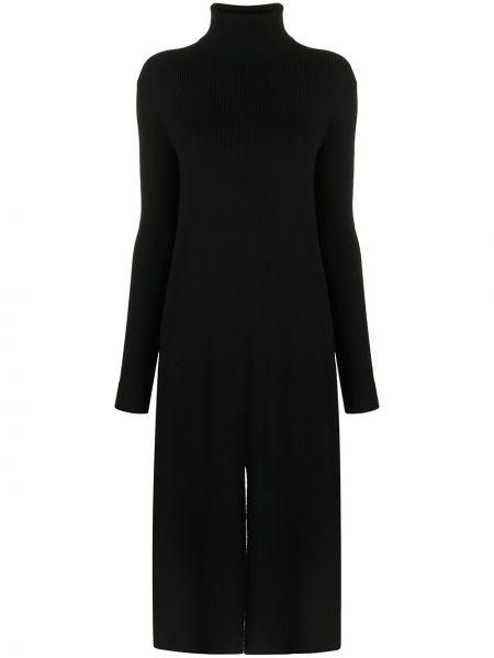 Wełniany czarny sukienka midi z długimi rękawami Tibi