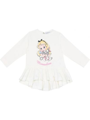 Ватное хлопковое белое платье стрейч Monnalisa