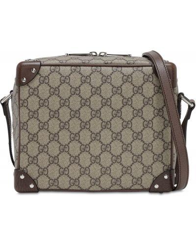 Beżowy z paskiem bawełna torba na ramieniu z prawdziwej skóry Gucci