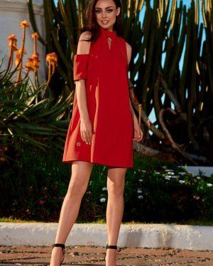 Czerwona sukienka na wesele na komunię elegancka Lemoniade