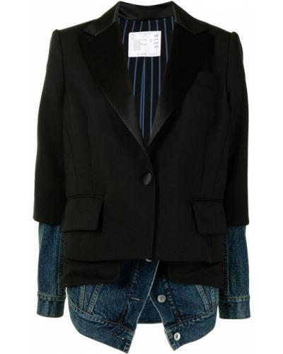Шерстяной черный удлиненный пиджак с карманами Sacai