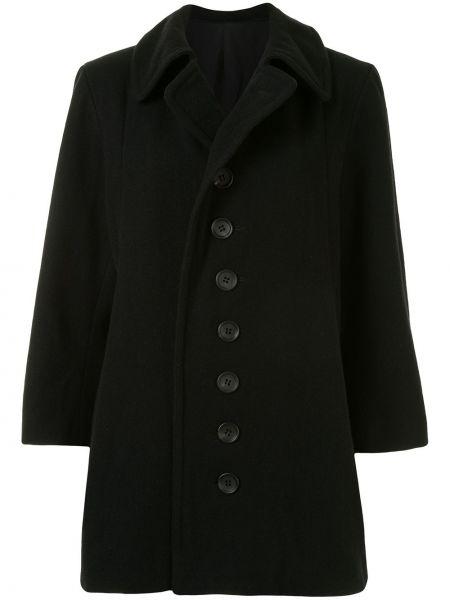 Шерстяное черное пальто классическое с воротником Yohji Yamamoto Pre-owned