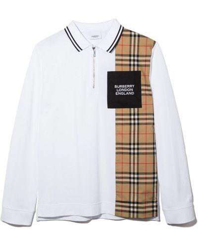 Biała koszula bawełniana Burberry Kids