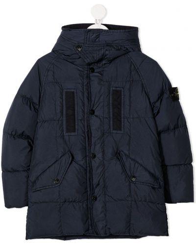 Синее пуховое пальто классическое с капюшоном Stone Island Junior