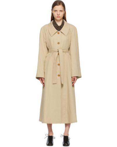 Beżowy długi płaszcz z paskiem bawełniany Lemaire