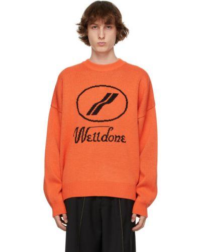 Черный шерстяной длинный свитер с воротником We11done