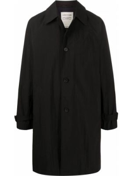 Черное однобортное длинное пальто с воротником на пуговицах A Kind Of Guise