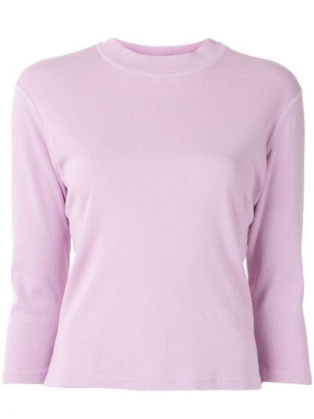С рукавами фиолетовая футболка круглая с вырезом Raquel Allegra