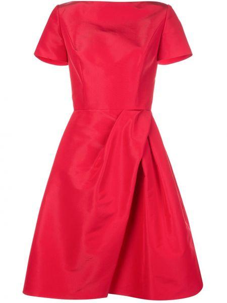 Шелковое платье миди с запахом с V-образным вырезом на молнии Carolina Herrera