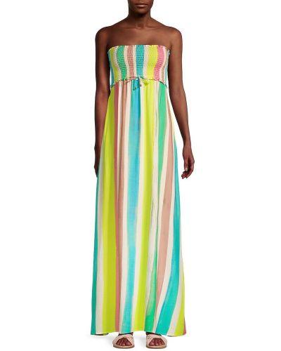 Прямое купальное платье с декольте в полоску Pilyq