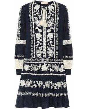 Платье мини с вышивкой в стиле бохо Tory Burch